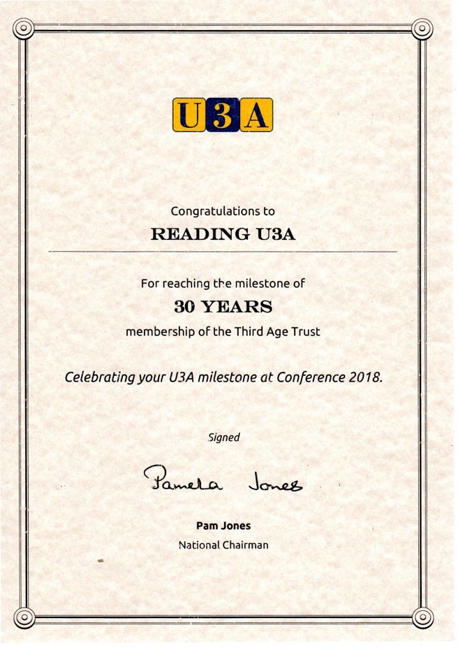 Reading U3A 30 Years +
